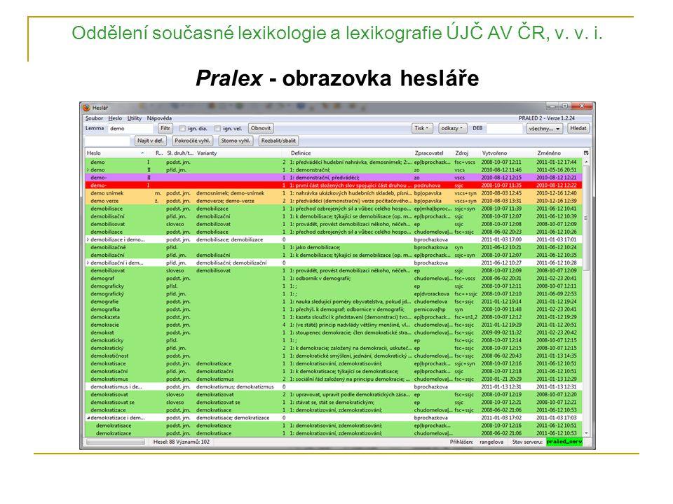Oddělení současné lexikologie a lexikografie ÚJČ AV ČR, v. v. i. Pralex - obrazovka hesláře
