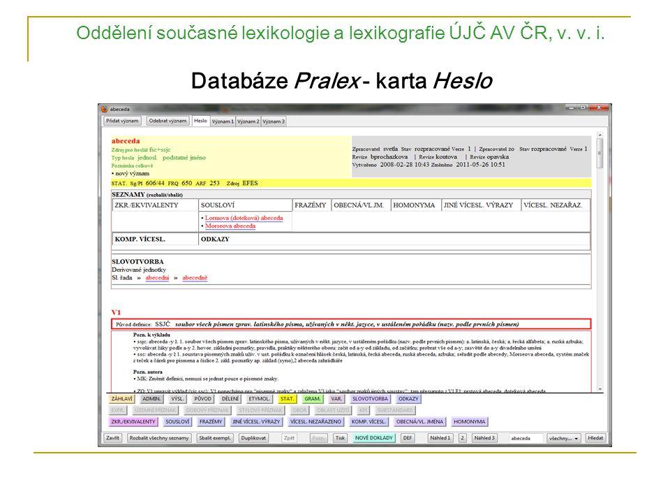 Oddělení současné lexikologie a lexikografie ÚJČ AV ČR, v. v. i. Databáze Pralex - karta Heslo