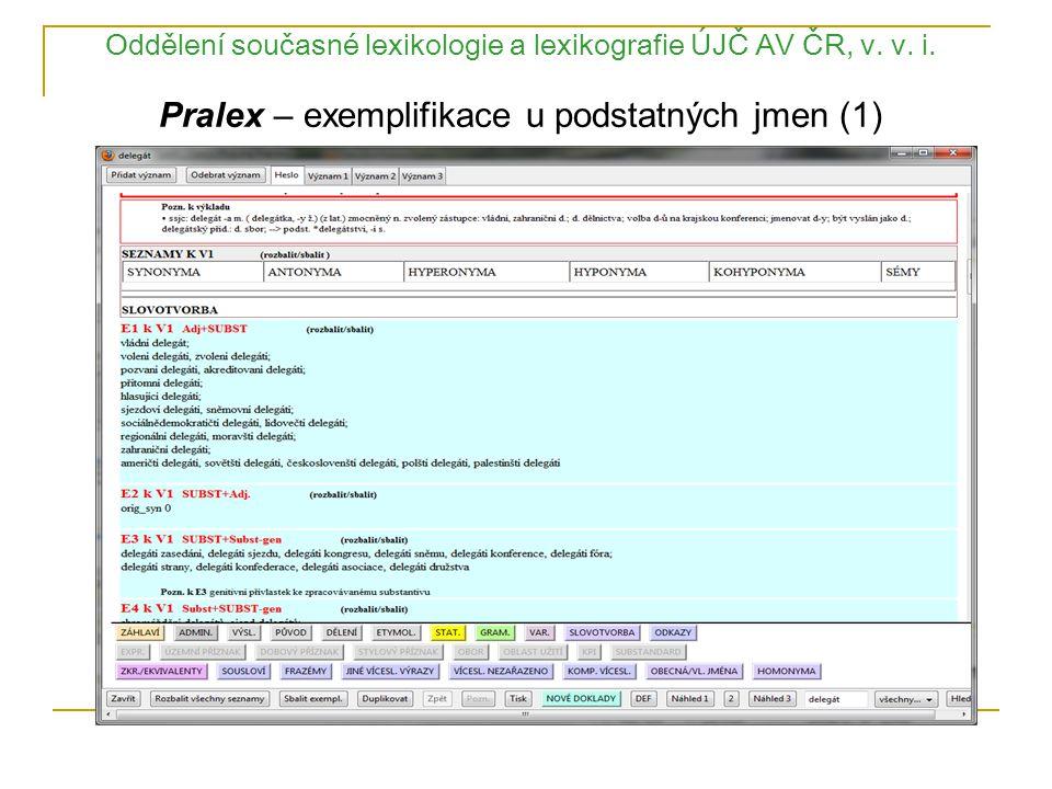Oddělení současné lexikologie a lexikografie ÚJČ AV ČR, v. v. i. Pralex – exemplifikace u podstatných jmen (1)