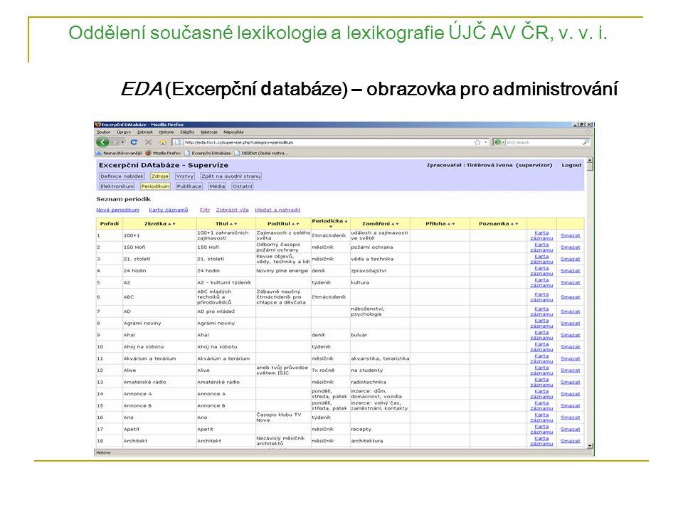Oddělen í současn é lexikologie a lexikografie Ú JČ AV ČR, v. v. i. EDA (Excerpční d atabáze) – obrazovka pro administrování