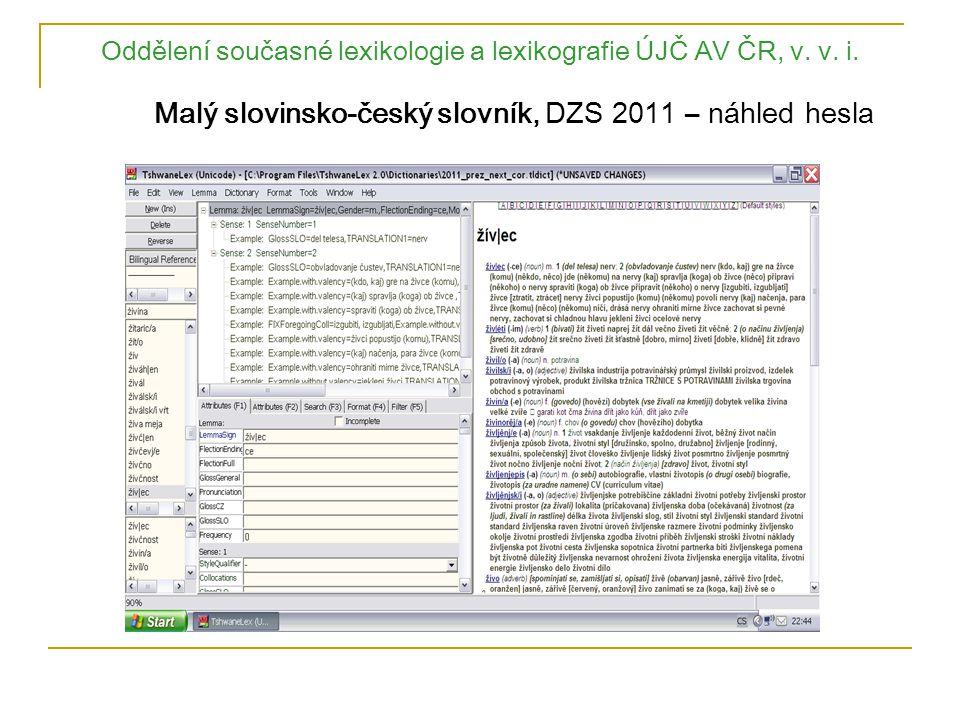 Oddělení současné lexikologie a lexikografie ÚJČ AV ČR, v. v. i. Malý slovinsko-český slovník, DZS 2011 – náhled hesla