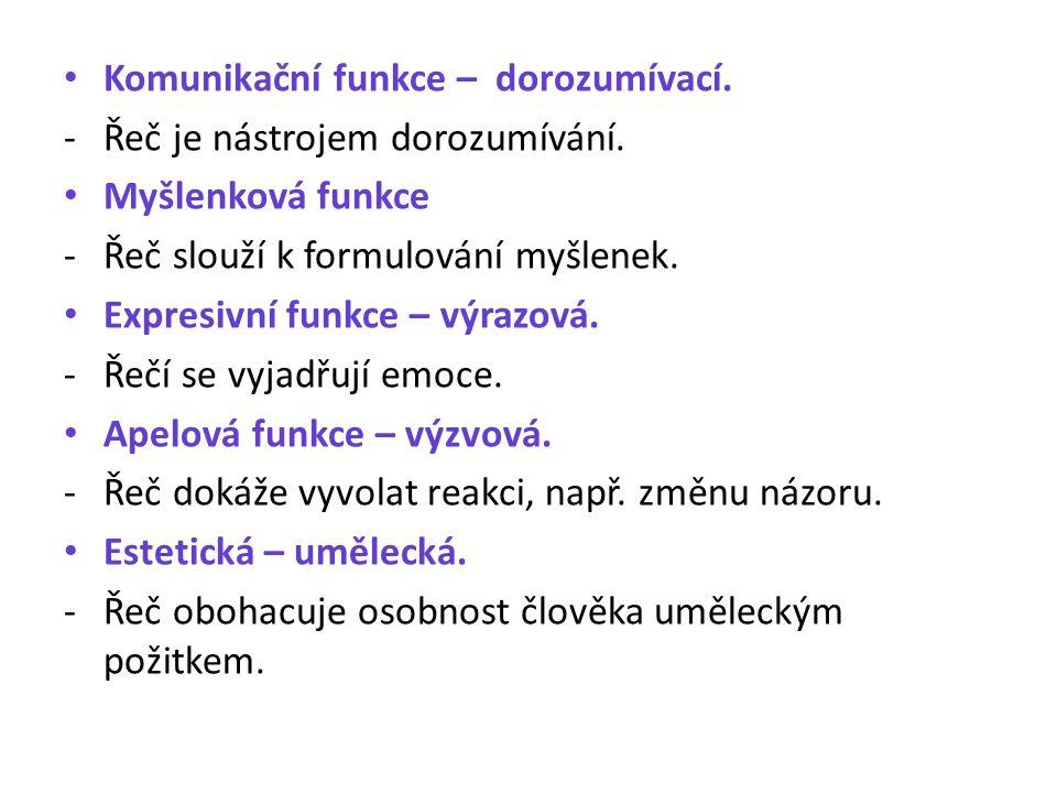 Komunikační funkce – dorozumívací. - Řeč je nástrojem dorozumívání. Myšlenková funkce - Řeč slouží k formulování myšlenek. Expresivní funkce – výrazov