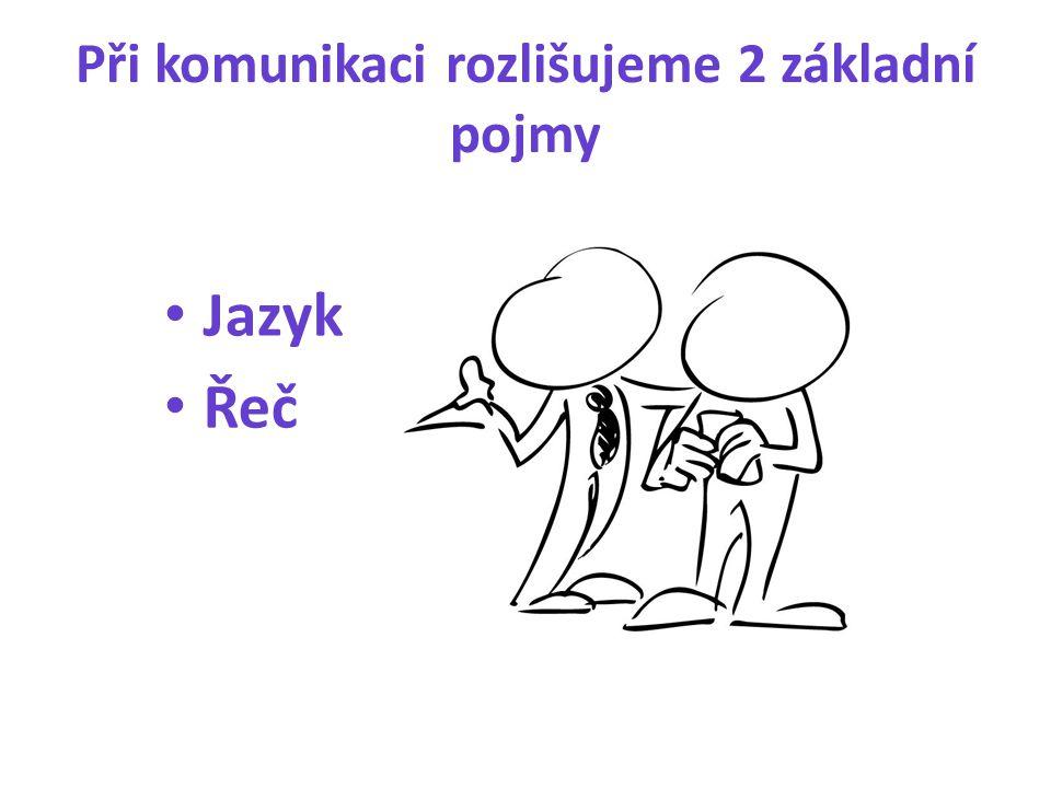 Při komunikaci rozlišujeme 2 základní pojmy Jazyk Řeč