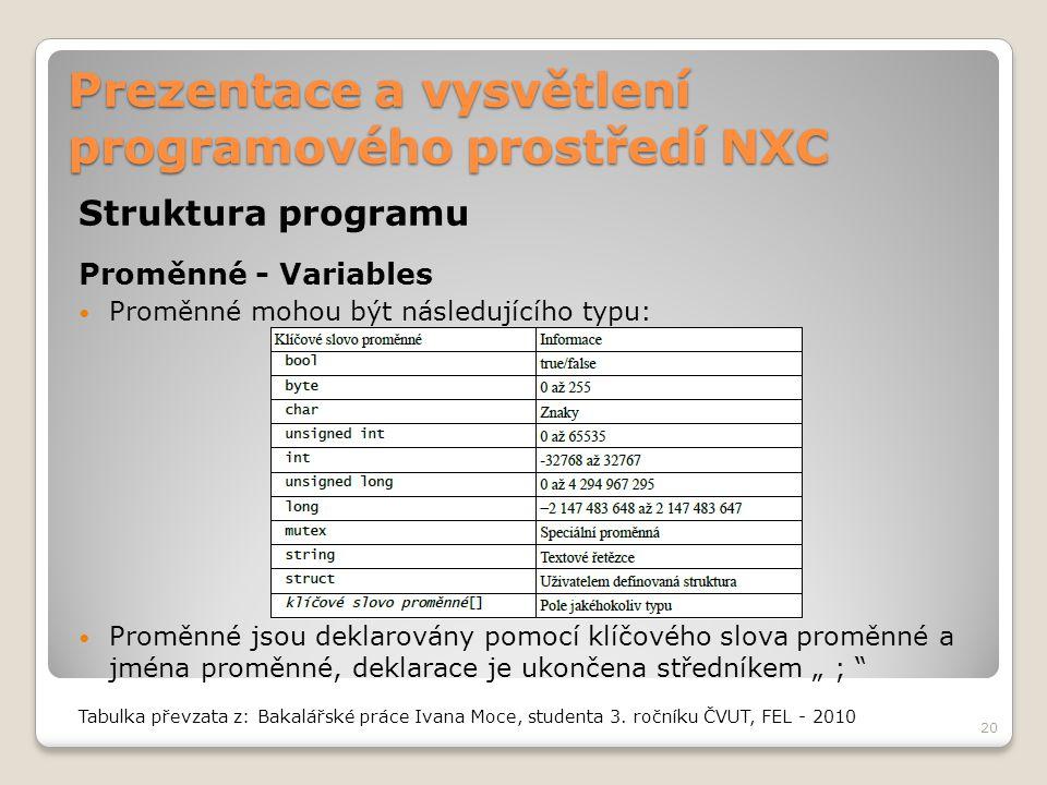 Prezentace a vysvětlení programového prostředí NXC Struktura programu Proměnné - Variables Proměnné mohou být následujícího typu: Proměnné jsou deklar