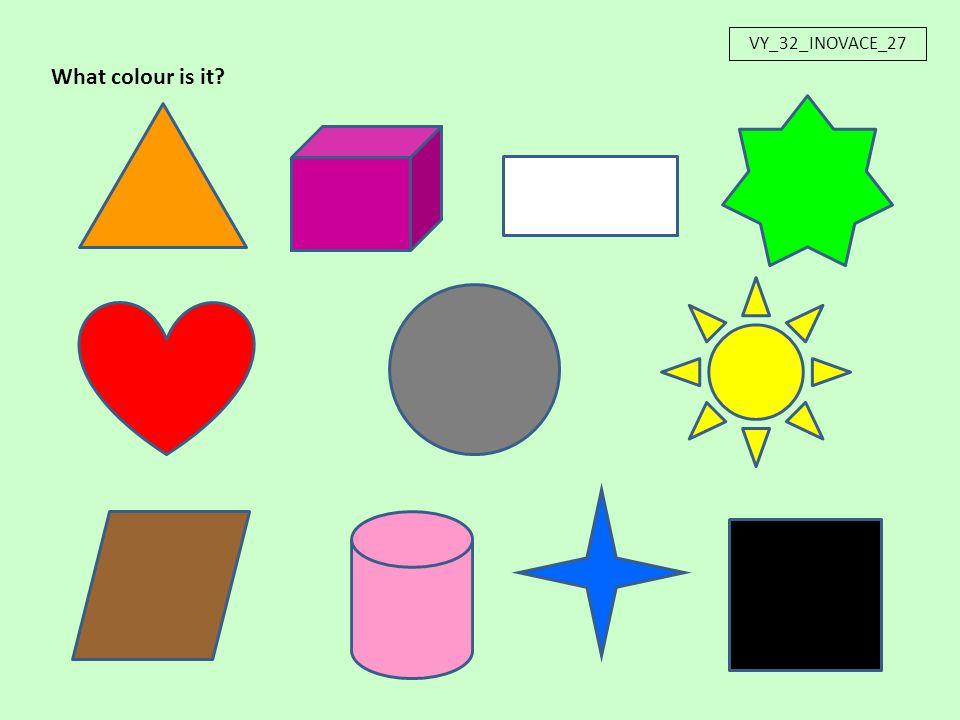 Název materiálu: VY_32_INOVACE_27 Anotace:Interaktivní prezentace je určena k upevnění a procvičení slovní zásoby na téma barvy.
