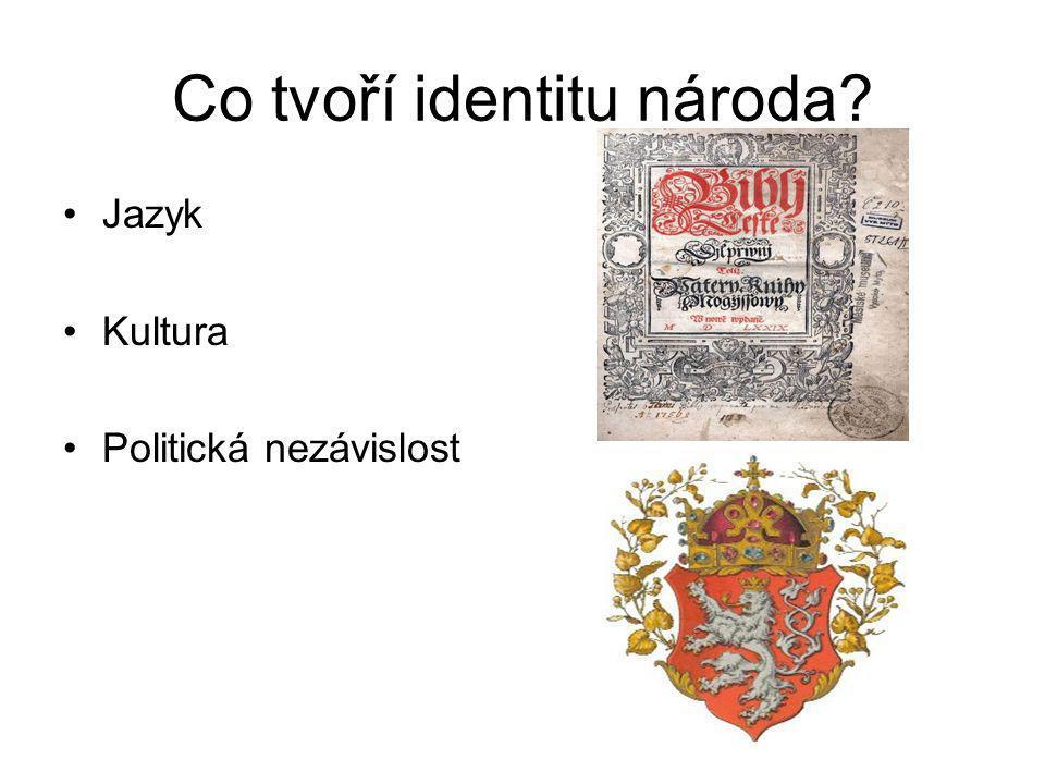 Národní obrození Proces, v němž se malé evropské národy snaží zachránit či obnovit svou identitu V případě Čechů se jedná o odpor proti germanizaci podporované vídeňskou vládou