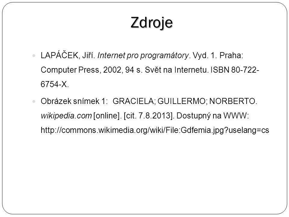 Zdroje LAPÁČEK, Jiří. Internet pro programátory. Vyd.