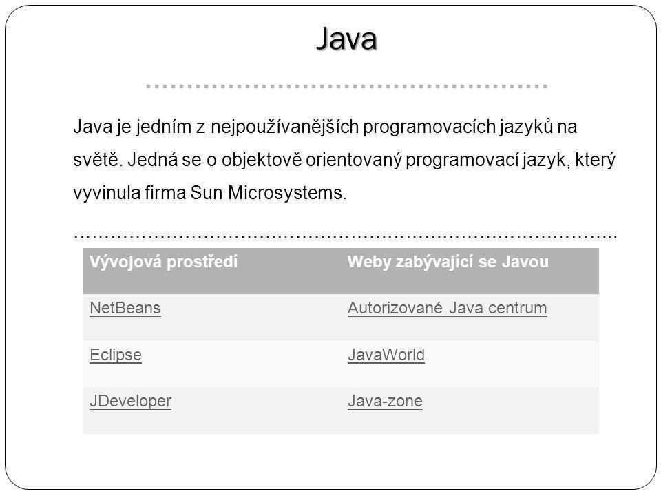 Java Java …………………………………………. Java je jedním z nejpoužívanějších programovacích jazyků na světě.
