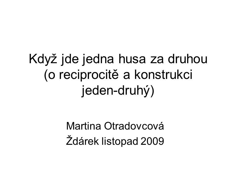 Když jde jedna husa za druhou (o reciprocitě a konstrukci jeden-druhý) Martina Otradovcová Ždárek listopad 2009