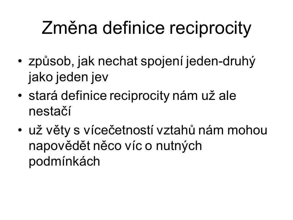 Změna definice reciprocity způsob, jak nechat spojení jeden-druhý jako jeden jev stará definice reciprocity nám už ale nestačí už věty s vícečetností vztahů nám mohou napovědět něco víc o nutných podmínkách