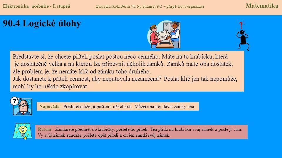 90.4 Logické úlohy Elektronická učebnice - I. stupeň Základní škola Děčín VI, Na Stráni 879/2 – příspěvková organizace Matematika Představte si, že ch