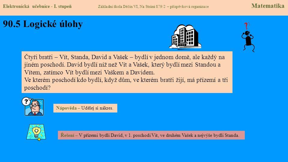 90.5 Logické úlohy Elektronická učebnice - I. stupeň Základní škola Děčín VI, Na Stráni 879/2 – příspěvková organizace Matematika Čtyři bratři – Vít,