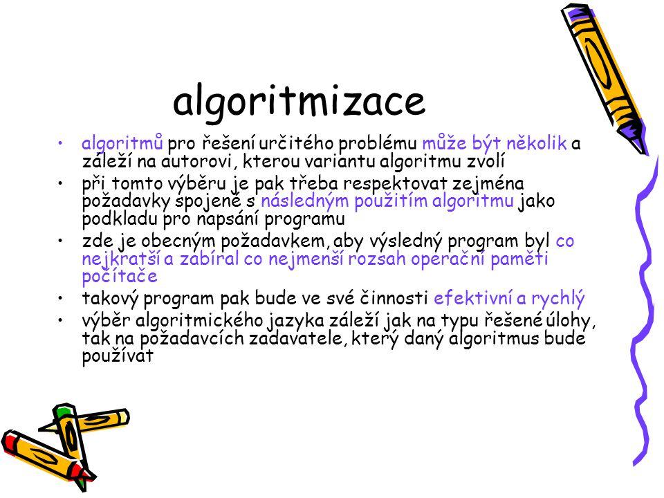 algoritmizace algoritmů pro řešení určitého problému může být několik a záleží na autorovi, kterou variantu algoritmu zvolí při tomto výběru je pak třeba respektovat zejména požadavky spojené s následným použitím algoritmu jako podkladu pro napsání programu zde je obecným požadavkem, aby výsledný program byl co nejkratší a zabíral co nejmenší rozsah operační paměti počítače takový program pak bude ve své činnosti efektivní a rychlý výběr algoritmického jazyka záleží jak na typu řešené úlohy, tak na požadavcích zadavatele, který daný algoritmus bude používat