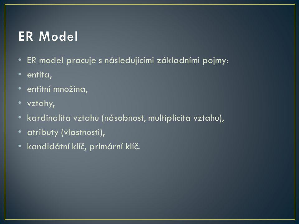 ER model pracuje s následujícími základními pojmy: entita, entitní množina, vztahy, kardinalita vztahu (násobnost, multiplicita vztahu), atributy (vlastnosti), kandidátní klíč, primární klíč.