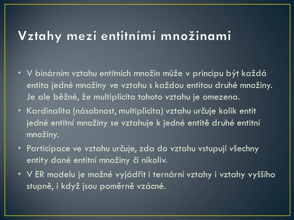 V binárním vztahu entitních množin může v principu být každá entita jedné množiny ve vztahu s každou entitou druhé množiny.