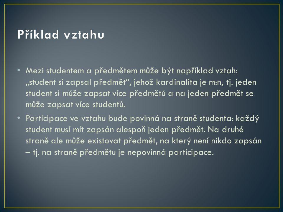 """Mezi studentem a předmětem může být například vztah: """"student si zapsal předmět , jehož kardinalita je m:n, tj."""