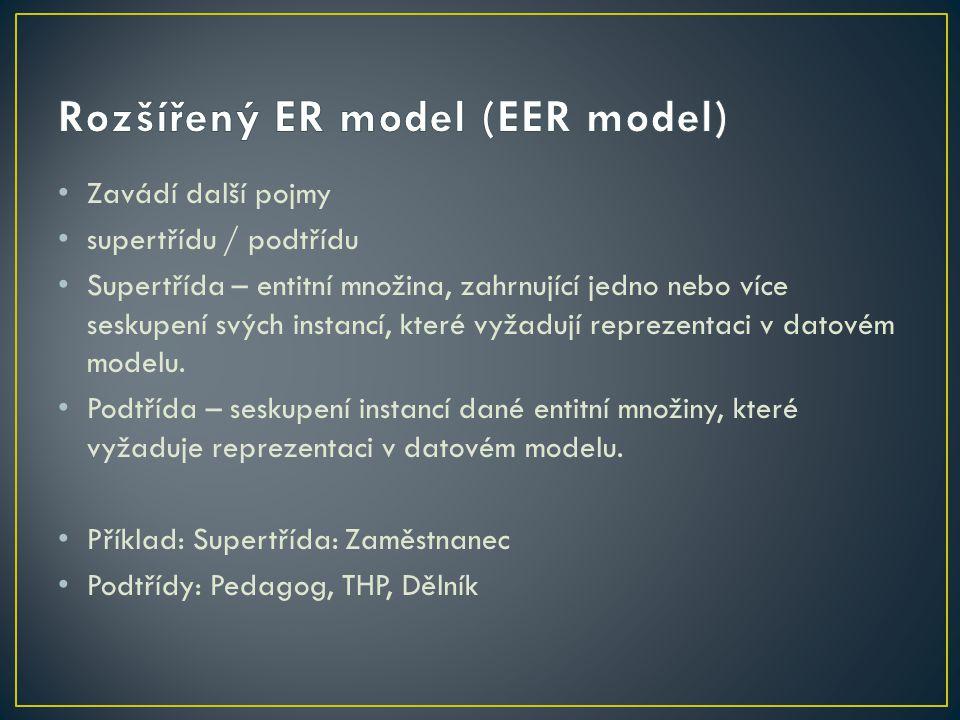 Entita v podtřídě reprezentuje tutéž entitu jako v supertřídě – zdědí atributy supertřídy a může mít navíc další atributy.