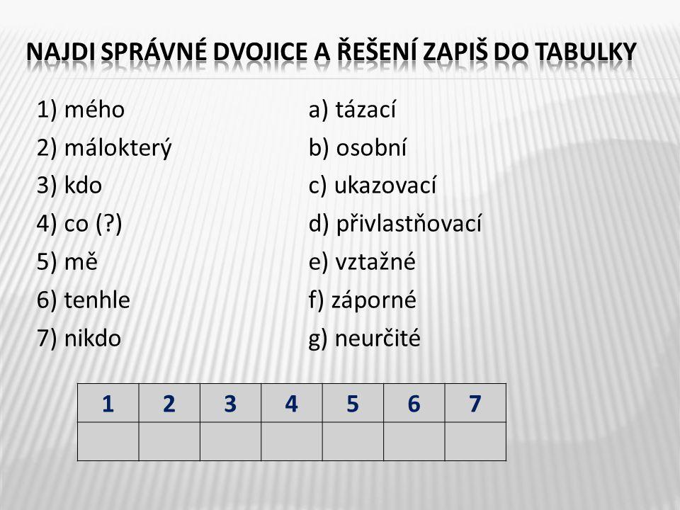 1) méhoa) tázací 2) málokterýb) osobní 3) kdoc) ukazovací 4) co ( )d) přivlastňovací 5) měe) vztažné 6) tenhlef) záporné 7) nikdog) neurčité 1234567