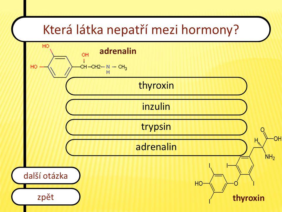 Která látka nepatří mezi hormony? thyroxin inzulin trypsin adrenalin zpět další otázka adrenalin thyroxin