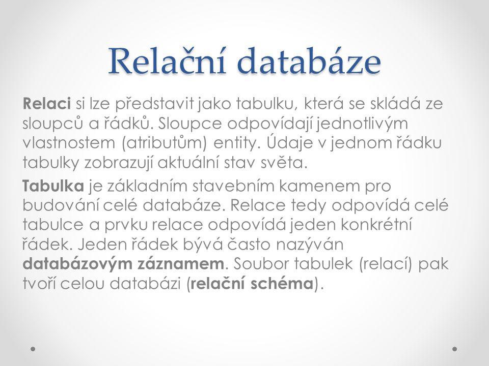 Relační databáze Relaci si lze představit jako tabulku, která se skládá ze sloupců a řádků. Sloupce odpovídají jednotlivým vlastnostem (atributům) ent