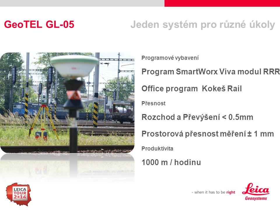 11 GeoTEL GL-05 Jeden systém pro různé úkoly Programové vybavení Program SmartWorx Viva modul RRR Office program Kokeš Rail Přesnost Rozchod a Převýše