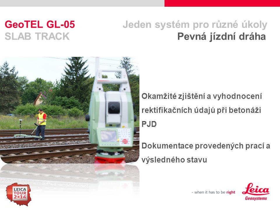 22 GeoTEL GL-05 Jeden systém pro různé úkoly SLAB TRACK Pevná jízdní dráha Okamžité zjištění a vyhodnocení rektifikačních údajů při betonáži PJD Dokum