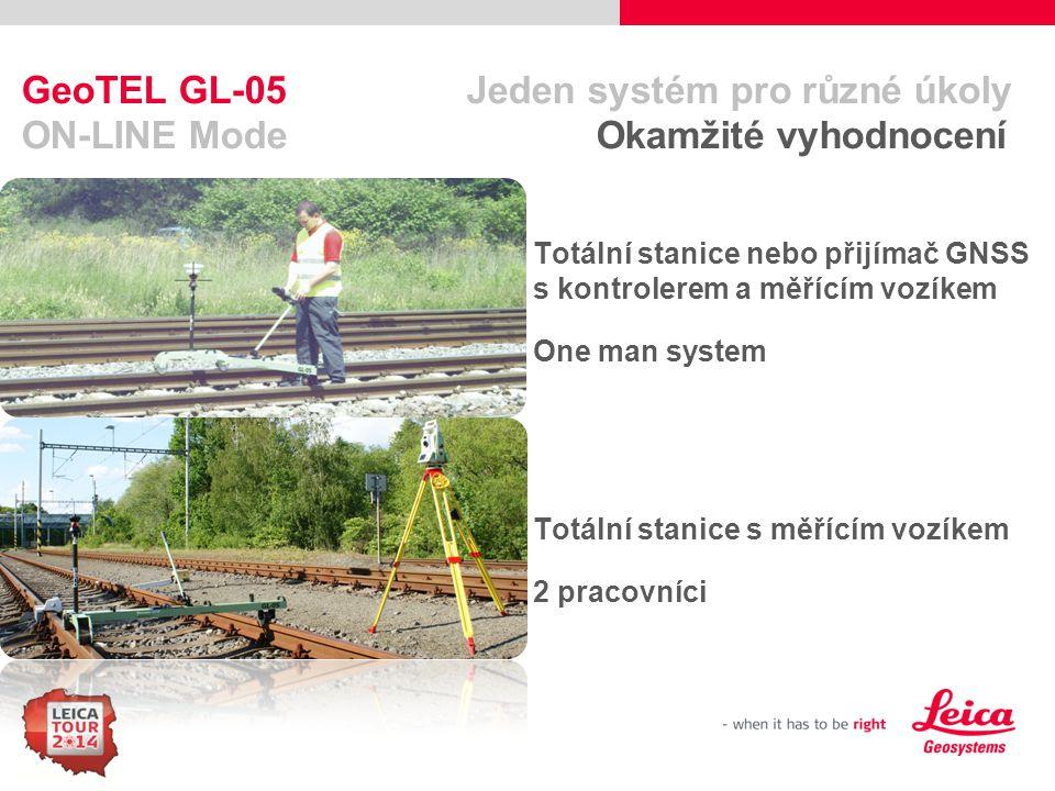 55 GeoTEL GL-05 Jeden systém pro různé úkoly ON-LINE Mode Okamžité vyhodnocení Totální stanice nebo přijímač GNSS s kontrolerem a měřícím vozíkem One