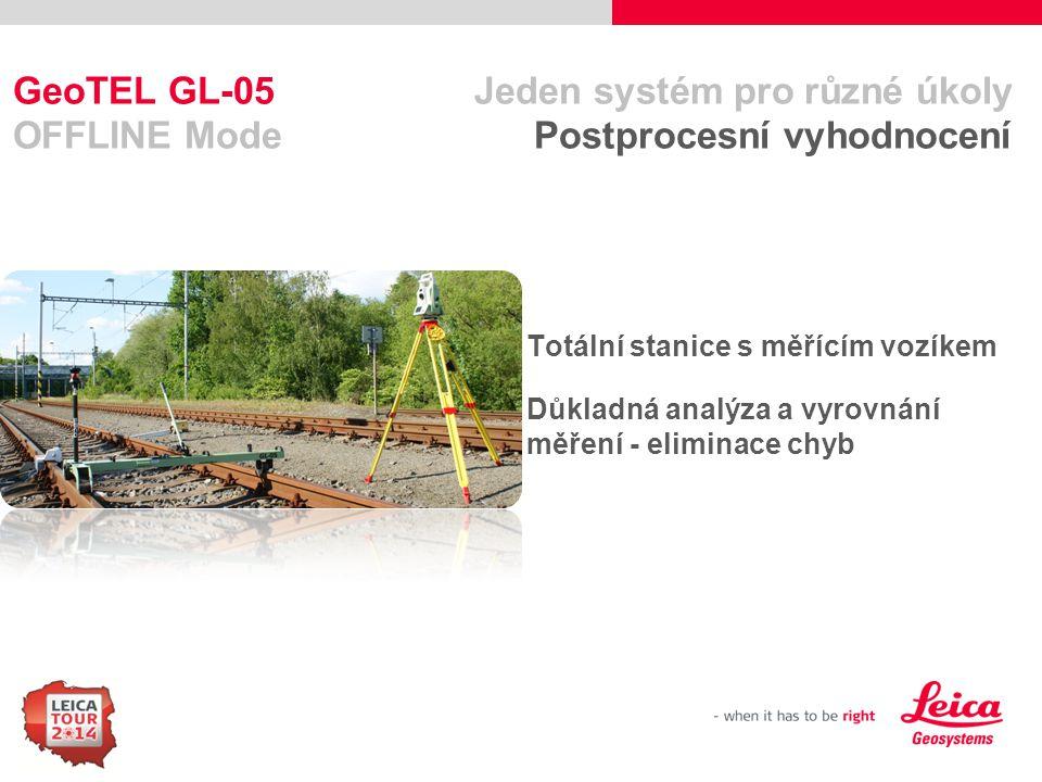 66 GeoTEL GL-05 Jeden systém pro různé úkoly OFFLINE Mode Postprocesní vyhodnocení Totální stanice s měřícím vozíkem Důkladná analýza a vyrovnání měře