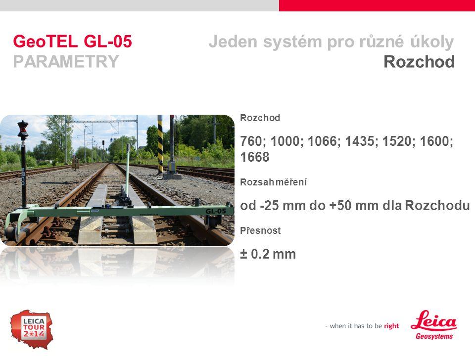 88 GeoTEL GL-05 Jeden systém pro různé úkoly PARAMETRY Převýšení Rozsah měření ± 10  (260 mm pro rozchod 1435) Přesnost ± 0.4 mm