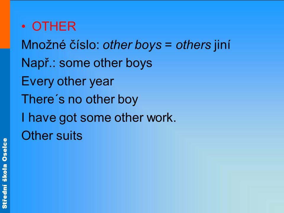 Střední škola Oselce OTHER Množné číslo: other boys = others jiní Např.: some other boys Every other year There´s no other boy I have got some other w