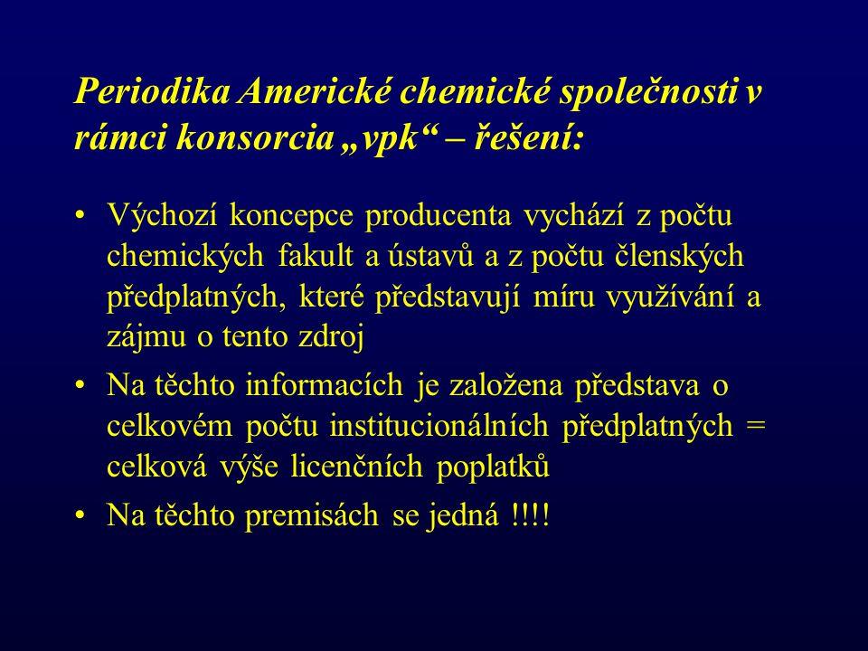 """Periodika Americké chemické společnosti v rámci konsorcia """"vpk – řešení: Výchozí koncepce producenta vychází z počtu chemických fakult a ústavů a z počtu členských předplatných, které představují míru využívání a zájmu o tento zdroj Na těchto informacích je založena představa o celkovém počtu institucionálních předplatných = celková výše licenčních poplatků Na těchto premisách se jedná !!!!"""
