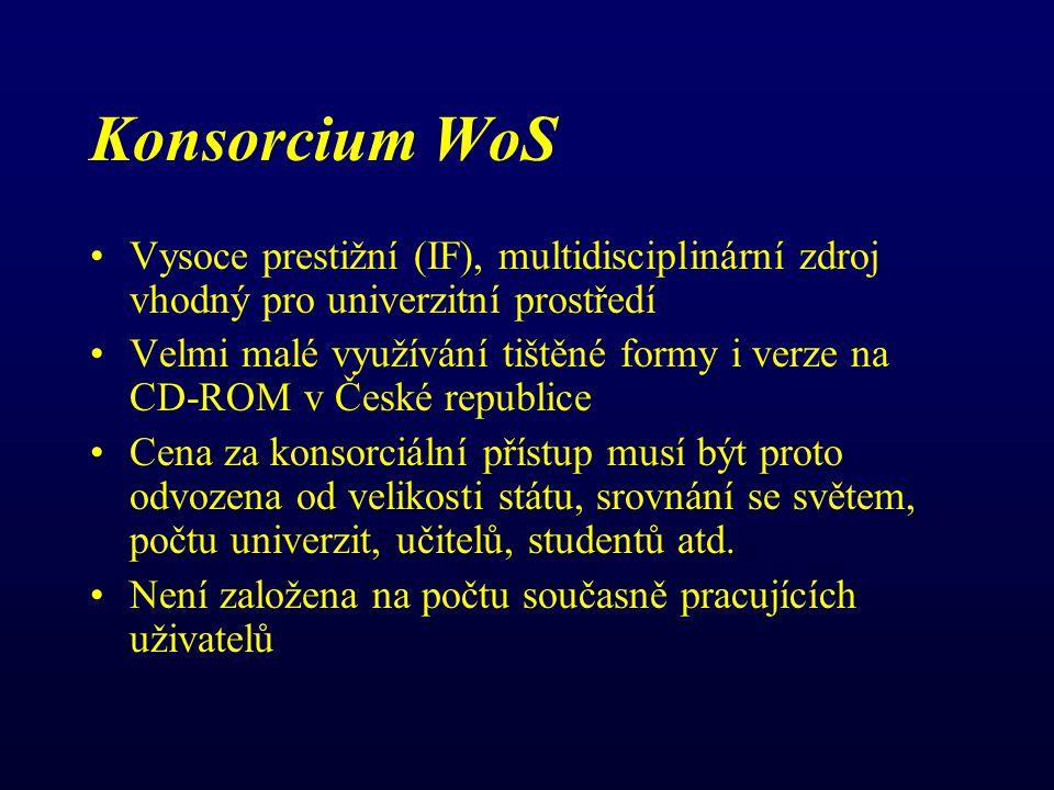 Konsorcium WoS Vysoce prestižní (IF), multidisciplinární zdroj vhodný pro univerzitní prostředí Velmi malé využívání tištěné formy i verze na CD-ROM v České republice Cena za konsorciální přístup musí být proto odvozena od velikosti státu, srovnání se světem, počtu univerzit, učitelů, studentů atd.