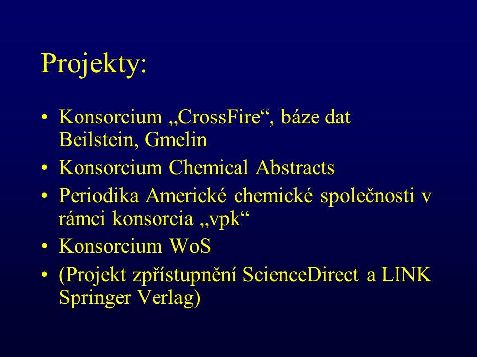 """Projekty: Konsorcium """"CrossFire , báze dat Beilstein, Gmelin Konsorcium Chemical Abstracts Periodika Americké chemické společnosti v rámci konsorcia """"vpk Konsorcium WoS (Projekt zpřístupnění ScienceDirect a LINK Springer Verlag)"""