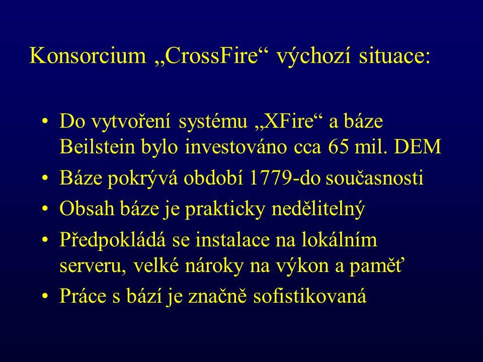 """Konsorcium """"CrossFire výchozí situace: Do vytvoření systému """"XFire a báze Beilstein bylo investováno cca 65 mil."""