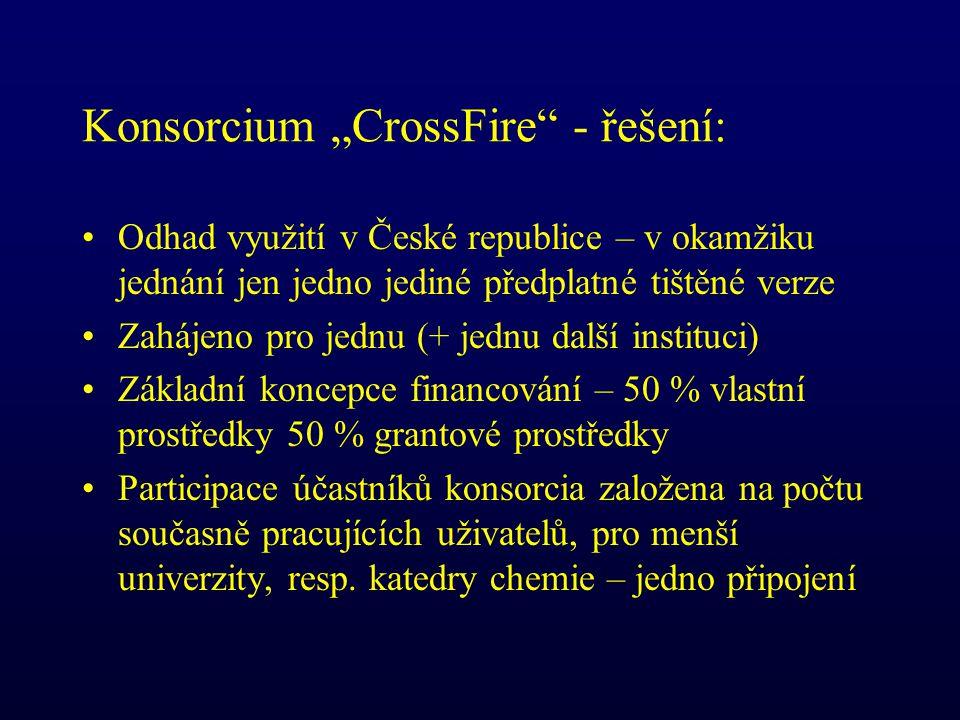 """Konsorcium """"CrossFire - řešení: Odhad využití v České republice – v okamžiku jednání jen jedno jediné předplatné tištěné verze Zahájeno pro jednu (+ jednu další instituci) Základní koncepce financování – 50 % vlastní prostředky 50 % grantové prostředky Participace účastníků konsorcia založena na počtu současně pracujících uživatelů, pro menší univerzity, resp."""