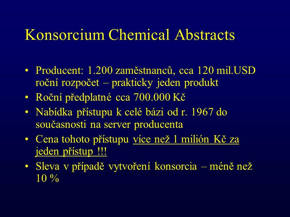 Konsorcium Chemical Abstracts Producent: 1.200 zaměstnanců, cca 120 mil.USD roční rozpočet – prakticky jeden produkt Roční předplatné cca 700.000 Kč Nabídka přístupu k celé bázi od r.