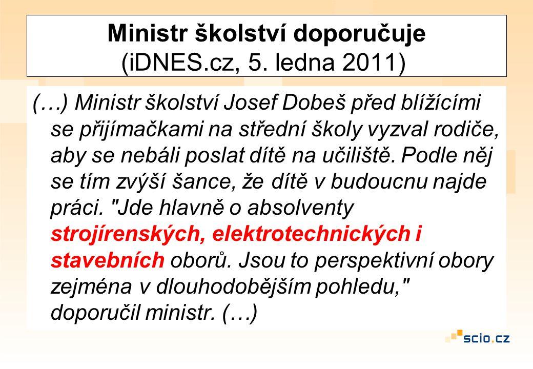 Ministr školství doporučuje (iDNES.cz, 5. ledna 2011) (…) Ministr školství Josef Dobeš před blížícími se přijímačkami na střední školy vyzval rodiče,
