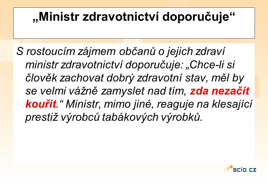 """""""Ministr zdravotnictví doporučuje"""" S rostoucím zájmem občanů o jejich zdraví ministr zdravotnictví doporučuje: """"Chce-li si člověk zachovat dobrý zdrav"""
