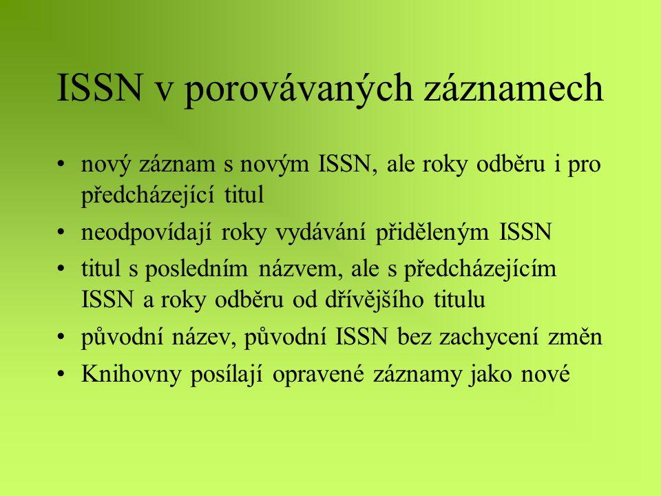 ISSN v porovávaných záznamech nový záznam s novým ISSN, ale roky odběru i pro předcházející titul neodpovídají roky vydávání přiděleným ISSN titul s posledním názvem, ale s předcházejícím ISSN a roky odběru od dřívějšího titulu původní název, původní ISSN bez zachycení změn Knihovny posílají opravené záznamy jako nové