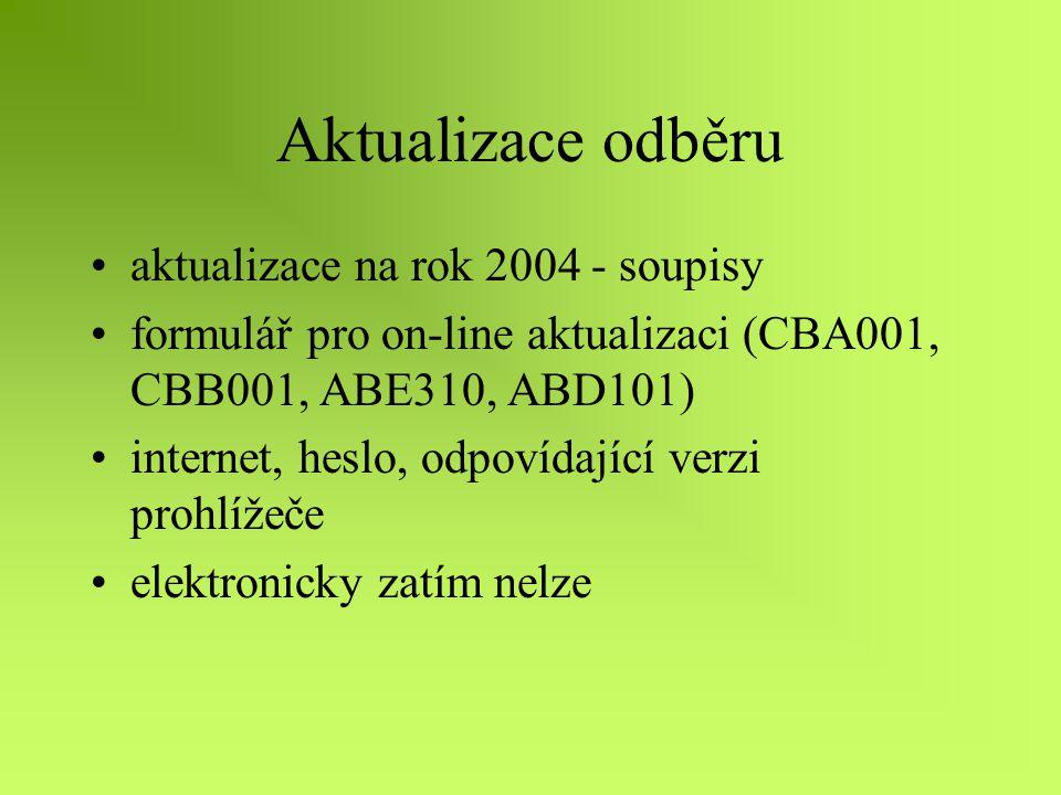 Aktualizace odběru aktualizace na rok 2004 - soupisy formulář pro on-line aktualizaci (CBA001, CBB001, ABE310, ABD101) internet, heslo, odpovídající verzi prohlížeče elektronicky zatím nelze