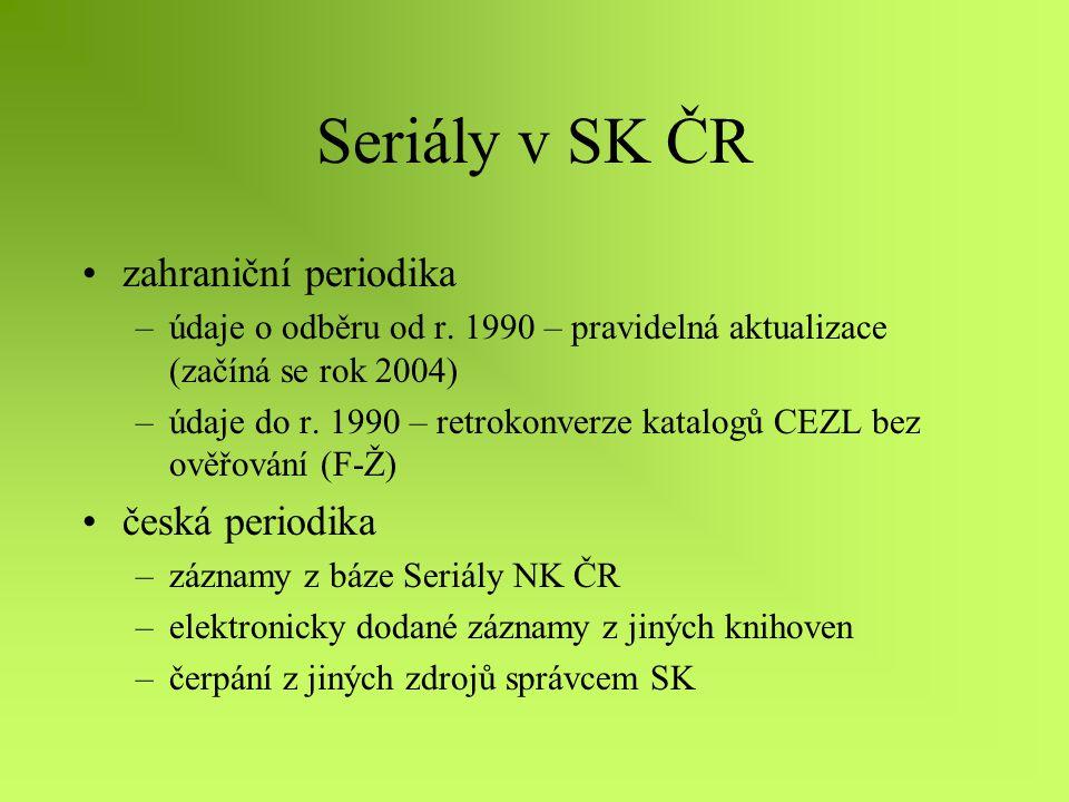 ISSN nové záznamy při změnách názvu, ale bez změny ISSN – odběry odpovídají změnám názvu titul s posledním názvem, ale s předcházejícím ISSN a roky odběru od dřívějšího titulu původní název, původní ISSN bez zachycení změn