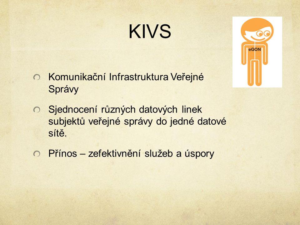 KIVS Komunikační Infrastruktura Veřejné Správy Sjednocení různých datových linek subjektů veřejné správy do jedné datové sítě. Přínos – zefektivnění s