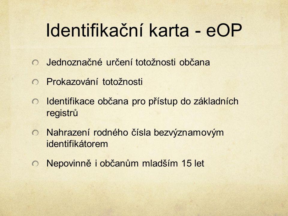 Identifikační karta - eOP Jednoznačné určení totožnosti občana Prokazování totožnosti Identifikace občana pro přístup do základních registrů Nahrazení