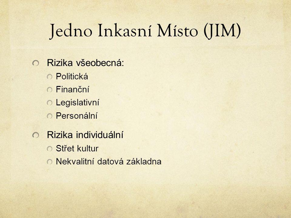 Jedno Inkasní Místo (JIM) Rizika všeobecná: Politická Finanční Legislativní Personální Rizika individuální Střet kultur Nekvalitní datová základna