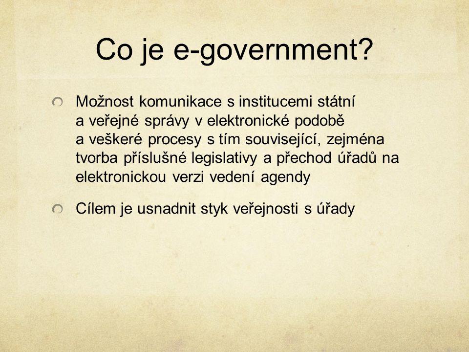 Historie E-government se vyvinul z revoluce informačních technologií Informační technologie nám přináší mnoho nových přiležitostí, např.: e-mail, spojení 2 lidí nezávisle na jejich lokaci S rozvojem a zpřístupňováním IT se rozvíjí taktéž e-government