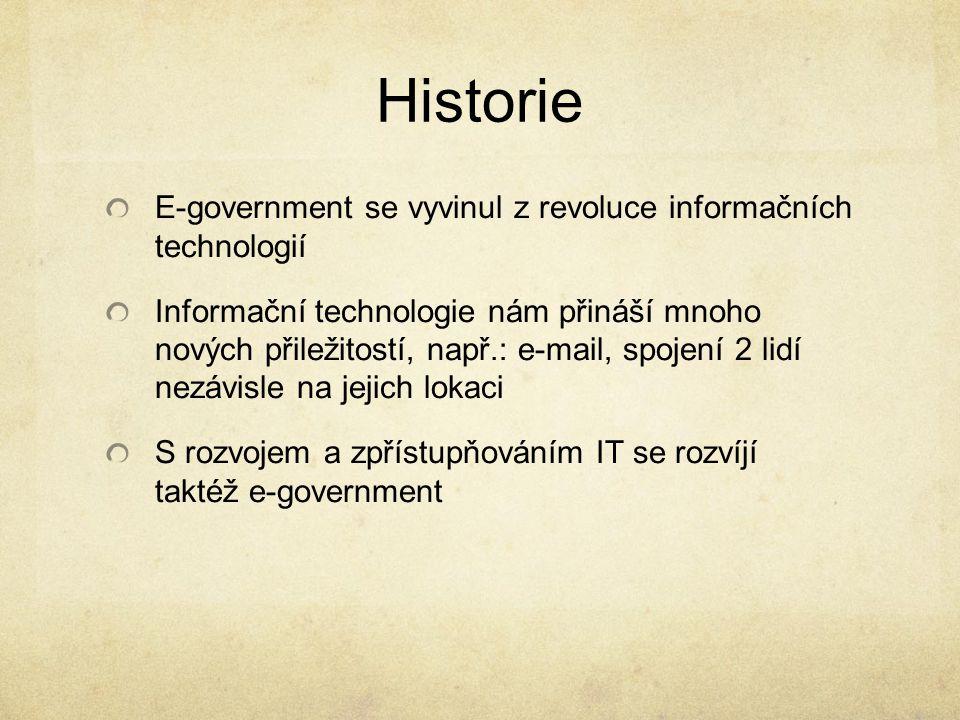 Historie E-government se vyvinul z revoluce informačních technologií Informační technologie nám přináší mnoho nových přiležitostí, např.: e-mail, spoj