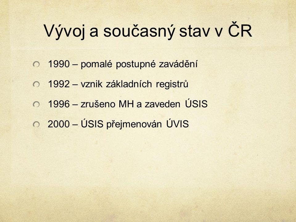 Vývoj a současný stav v ČR 1990 – pomalé postupné zavádění 1992 – vznik základních registrů 1996 – zrušeno MH a zaveden ÚSIS 2000 – ÚSIS přejmenován Ú