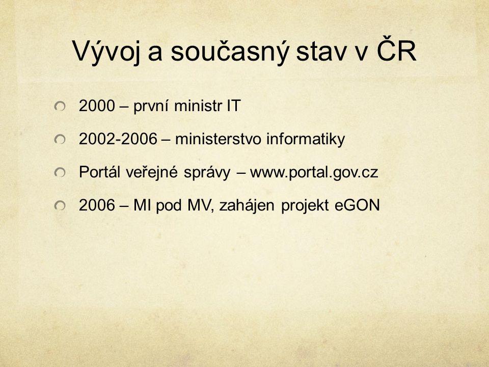 Vývoj a současný stav v ČR 2000 – první ministr IT 2002-2006 – ministerstvo informatiky Portál veřejné správy – www.portal.gov.cz 2006 – MI pod MV, za