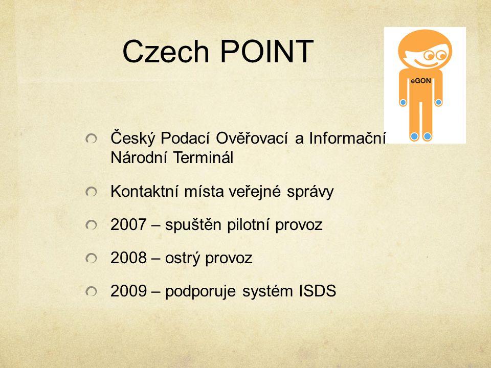 Czech POINT Český Podací Ověřovací a Informační Národní Terminál Kontaktní místa veřejné správy 2007 – spuštěn pilotní provoz 2008 – ostrý provoz 2009