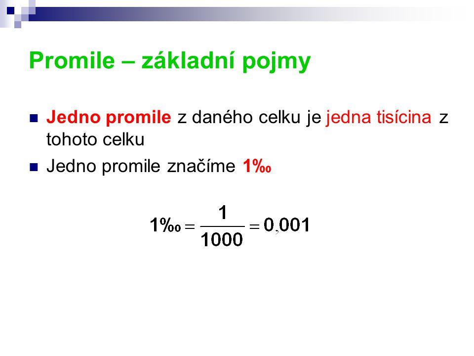 Promile – základní pojmy Jedno promile z daného celku je jedna tisícina z tohoto celku Jedno promile značíme 1‰